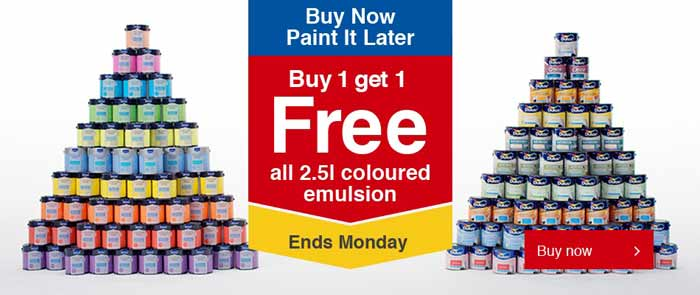 Offer: Buy one get one free all 2.5L Coloured Emulsion.