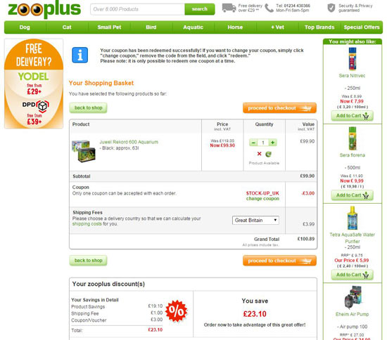 Zooplus Discount Code and Zooplus Voucher Code Checkout Image